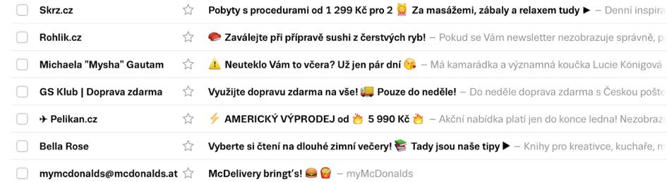 Emoji v e-mailingu.