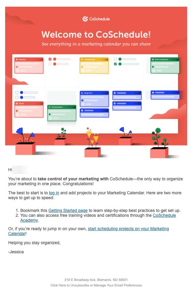 Uvítací e-mail: CoSchedule.com