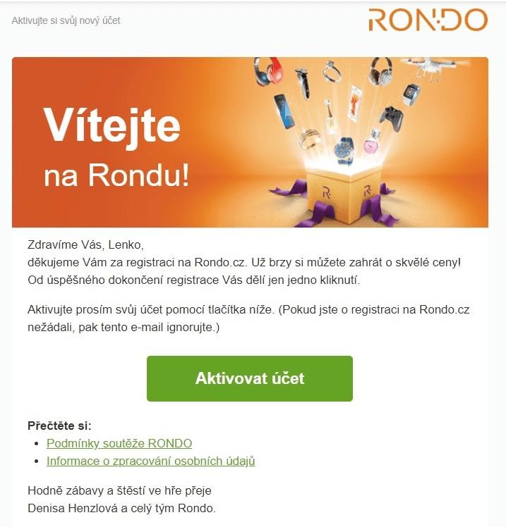 Uvítací e-mail: Rondo
