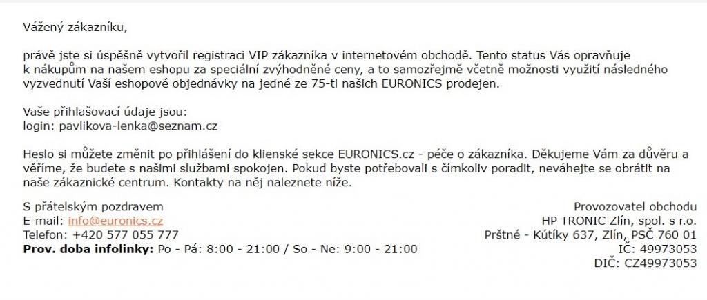 Uvítací e-mail: Euronics
