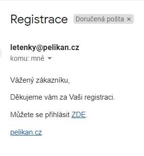 Uvítací e-mail: Pelikan.cz