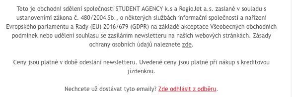 Důležité informace v patičce e-mailu