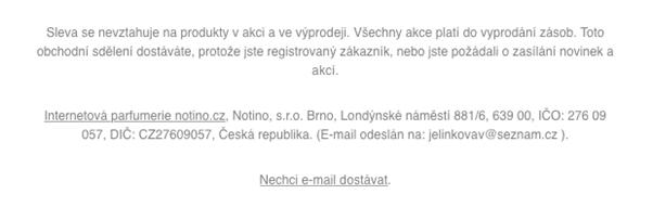 Patička e-mailu s detailními informacemi ke slevě nebo akci