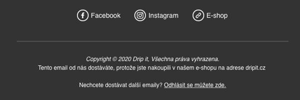 Patička e-mailu s odkazy na sociální sítě