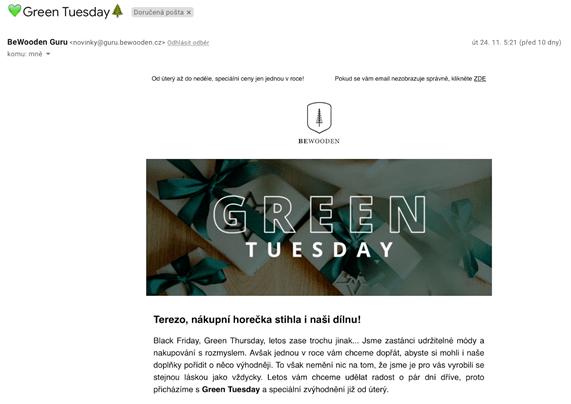 E-maily v předvánočním období: Green Tuesday