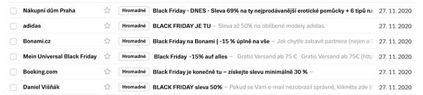 Vánoční e-mailing: záplava Black Friday e-maily.