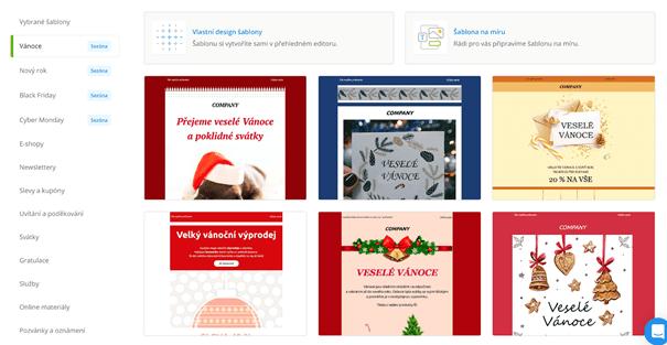 Vánoční e-mailing: ukázka vánočních šablon Ecomailu.