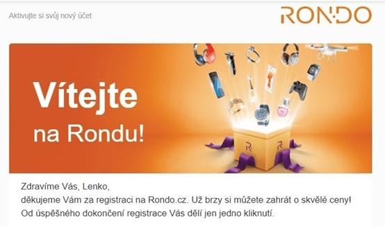 Uvítací e-mail Rondo